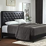 Allewie Queen Bed Frame with Adjustable Diamond Button Tufted Headboard,Faux Leather Upholstered Platform Bed,Mattress Foundation,No Box Spring Needed,Black