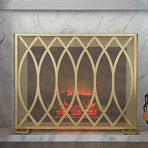 Pantalla Chimenea Panel Único Pantalla con Acabado de Hierro para Chimenea de Gas/Madera de Troncos, Spark Flame Guard con Trípode de Soporte, Ancho 100× Alto 82cm (Color : Gold)