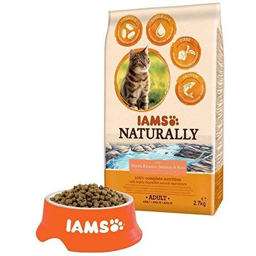 Iams kattenvoer natuurlijk met North Atlantic zalm en rijst, compleet en evenwichtig kattenvoer met natuurlijke ingrediënten, 1 x 2.7 kg