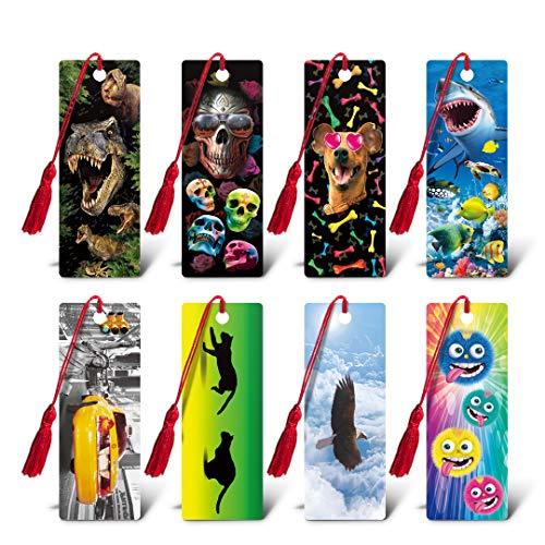 3D Bookmarks for Kids, Ruler Tassel Bookmarks,Bookmarks for Women Kids Gift Set of 8PC CEIEC3D