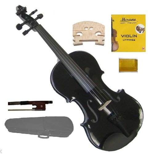 Merano MV300BK 4/4 Full Size Black Violin with Case and Bow Extra Set of String Extra Bridge and Rosin