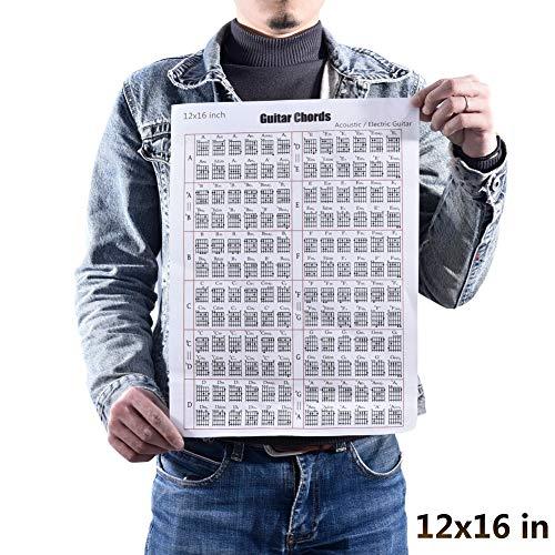 OUYAWEI Akoestische/elektrische gitaar Koord & Schaal Grafiek Poster Tool Lessen Muziek Leren Hulp Referentie Tabs Grafiek 30 * 40cm (12x16inch)