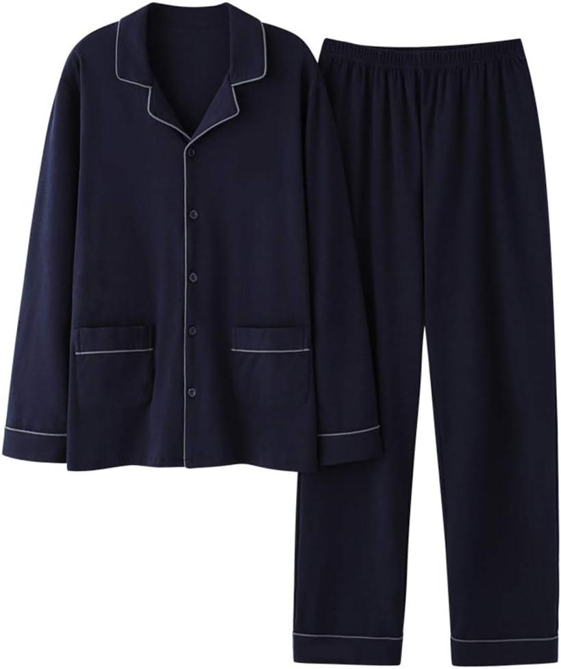 Autumn Winter Men's Cotton Pajama Set,Lightweight Long Sleeve Button-Down Sleepwear Two-Piece Suit Casual Comfortable Home Loungewear,Dark Blue,XXXL