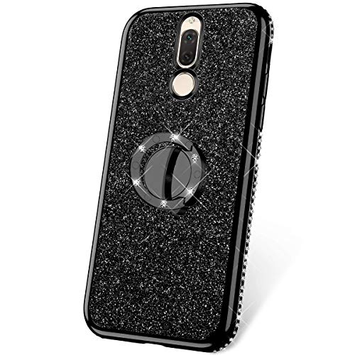 JAWSEU Funda Compatible con Huawei Mate 10 Lite/Maimang 6 Brillante Brillo Suave Silicona TPU Gel Funda con Anillo Bling Diamantes Ultra-Delgada Enchapado Transparente Protectora Carcasa,Negra