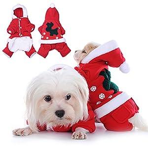 yunt Pet chien chiot chat chaton de Noël Deer robe chaud jusqu'à capuche Combinaison Vêtements Pet Costume Cosplay