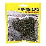 50 Pezzi Esche da Pesca Esche Set, plastica Morbida t-Tail Esca, 9 Colori Larve Esche da V...