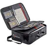 ROLOWAY Fireproof Document Bag (17 x 12 x 5 inch) with Lock, Fireproof Document Safe Organizer, Fireproof File Storage Bag, Fireproof Bag with Multi-Layer Portable File Organizers for Travel (Black)