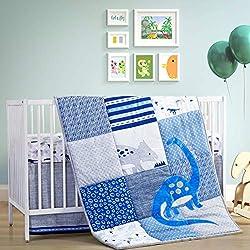 5. The Little Grape Land Store Baby Boy Crib Dinosaur Bedding 3 Piece Set