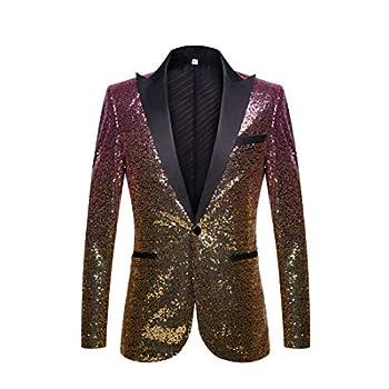 PYJTRL Men Fashion Gradual Change Color Sequins Suit Jacket  Pink Gold US 42R