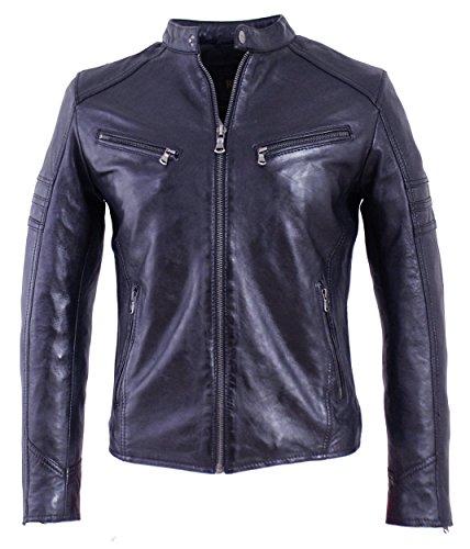 RICANO Cliff Herren Lederjacke (Slim Fit) im Biker Stil/Bikerjacke aus Lamm Nappa Echt Leder in Schwarz und Indigo Blau (Indigo Blau, M)