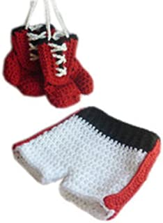 Pinbo Baby Photo Photography Prop Crochet Knitted Costume Boxer Gloves Shorts