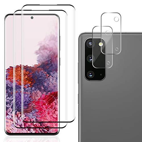 Carantee Panzerglas Schutzfolie für Samsung Galaxy S20, 3D Gebogen Vollabdeckung Panzerglasfolie, 9H, Blasenfrei, Anti-Kratzen 2 Schutzfolie + 2 Kamera Panzerglasfolie