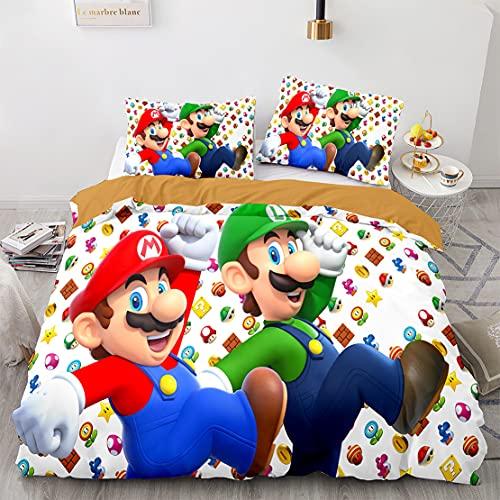 SK-YBB Super Mario Bros Juego De Cama Funda Nórdica Ropa De Cama Funda De Almohada De para Jóvenes Funda Nórdica con Fundas De Almohada (A1,135x200 cm -Cama 90cm)