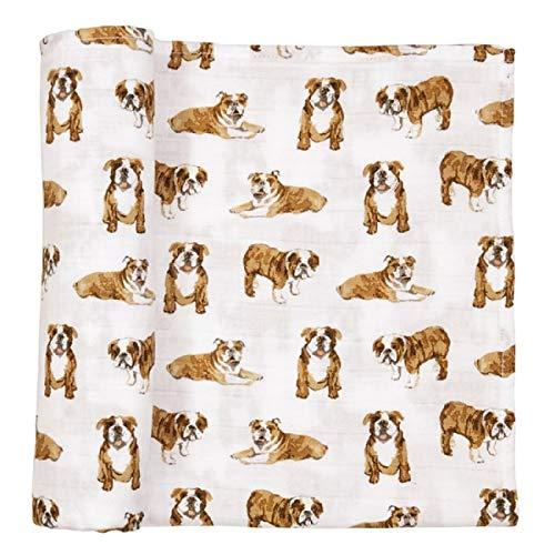 Mud Pie Bulldog Print Muslin Baby Swaddle Blanket, 47' x 47' (12140053)
