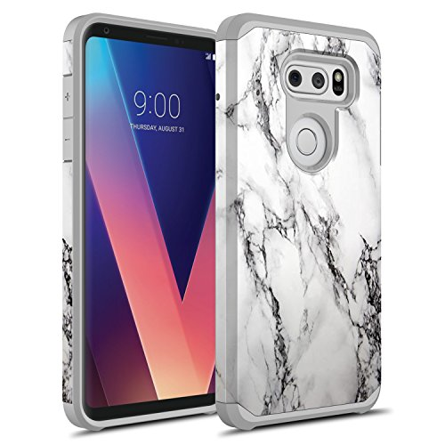 LG V30 Case, LG V30 Plus Case, LG V30S ThinQ Case, LG V35 ThinQ Case, Rosebono Hybrid Dual Layer Shockproof Hard Cover Graphic Fashion Colorful Silicone Skin for LG V30 (White Marble)