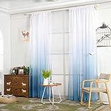 N-K 1 cortina de tul con degradado de color azul, resistente y duradero