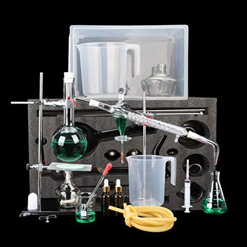 AMITD Neue 500Ml Labor Ätherisches Öl Destillationsgerät Wasserfilter Destille Glaswaren Kits W/Werkzeug Fall Kondensator Rohr Wird Verwendet, Um Ätherisches Rosenöl Zu Extrahieren