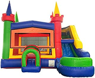 TentandTable Rainbow Wet Dry Modular Bounce House Tunnel Front, Slide Climbing Wall Combo, Commercial Grade Inflatable, Blower Included