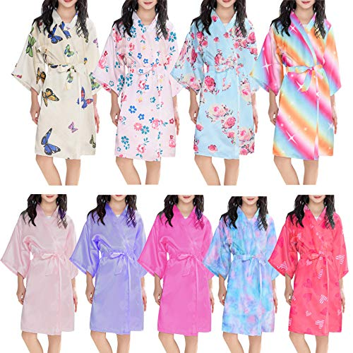 Kids Girls Silk Satin Robe Bathrobe Kimono Night Gown Sleepwear Clothes Children Robe Dressing Gown Bathrobe Nightwear for Spa Bathing Birthday Wedding Party Home Sleep wear 2-11 Years