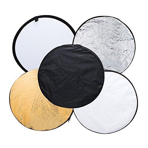"""Andoer 43"""" 110cm disque 5 en 1 (or, argent, blanc, noir, translucide) Multi Portable pliable photographie Studio Photo réflecteur de lumière"""