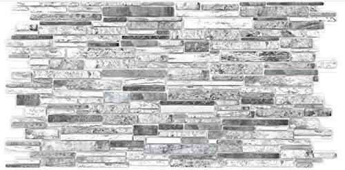 PVC Plastic Wall Panels 3D Decorative Tiles Cladding - Grey Slate (Pack 10 pcs/4.70 sqm)