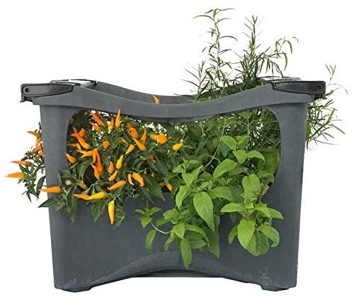 U-greeny Pflanzbox Hochbeet; nachhaltiges Gemüsebeet zu 100% aus receyceltem Material; Anzuchttopf Pflanzregal für Balkon, Garten und Terrasse, integriertes Wasserablaufsystem, wetterfest, Steinoptik