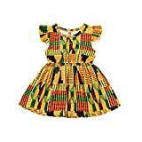 JEELLIGULAR Baby Girls Summer Clothes Ruffle African Baby Dress Dashiki Ankara A-line Floral Dress Clothing Summer(4-5T,African Pattern 2,4 Years)