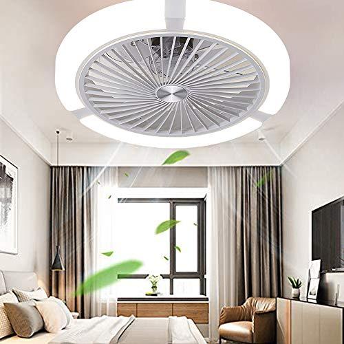 LED Unsichtbarer Deckenventilator Fan Deckenleuchte Moderne Fan Deckenlampe 68W Dimmbar Mit Fernbedienung Für Wohnzimmer Lampe Schlafzimmer Kinderzimmer Leise Fan Beleuchtung 45Cm,Weiße