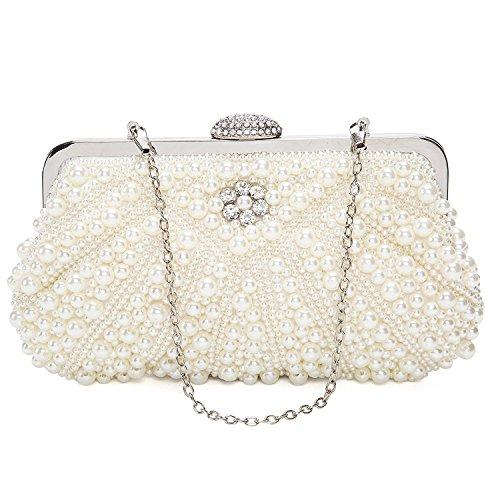 BAIGIO Damen Clutch Perlen Strass Abendtasche Vintage Handtasche für Hochzeit Party Bankett