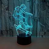 DFDLNL Lámpara 3D de Skateboard 7 Luces de Noche LED de Color Iluminación para Dormir para bebés Interruptor táctil Lámpara de Mesa USB para Ventiladores de Skate Regalo
