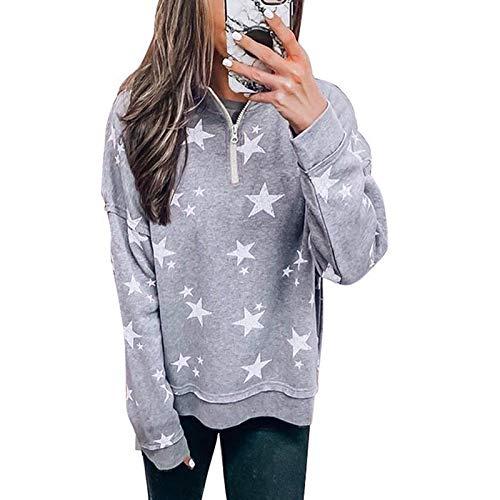 Janly Clearance Sale Blusa de manga larga para mujer, informal, con estampado de estrellas de cinco fundas, manga larga, para Navidad y viernes negro (gris/XL)