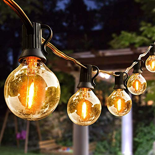 LED Outdoor String Lights 27FT Garden Backyard Lights with 25 G40 LED Clear Globe Bulbs for Indoor/Outdoor Decoration and Lighting Warm White