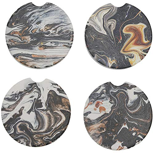 COFOZA Pack of 4 Marble Style Absorbent Ceramic Car Coasters for Cup Holder with Finger Notch Easy Removal Best Auto Accessory Keep Vehicle Cupholder Dry and Clean(Black 2.56'')