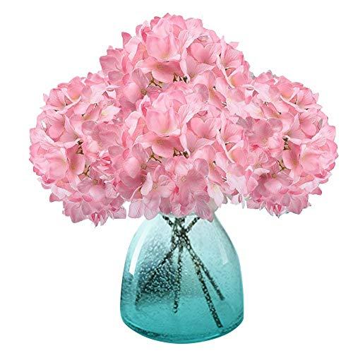 MEIWO Künstliche Blumen, 2 Pcs Real Touch Latex Künstliche Hydrangea Seide Blumen in Vasen für Hochzeit Dekor/Home Dekor/Party/Graves Arrangement(Rosa)