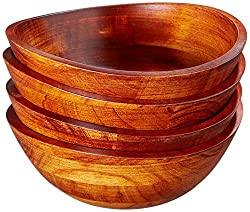 Lipper International 293-4 Cherry Finished Wavy Rim Serving Bowls