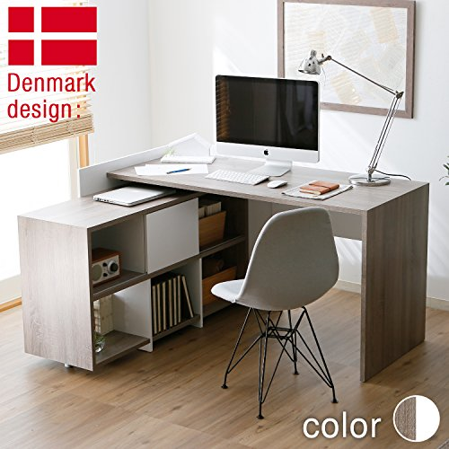 LOWYAロウヤL字型机デスクワークデスクパソコンデスク収納幅140cmホワイトxブラウン