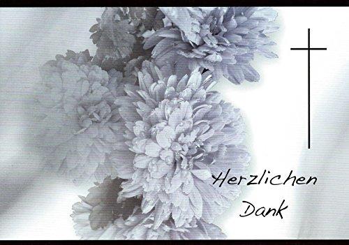 Trauer Danksagungskarten Trauerkarten mit Innentext Motiv: Chrysantheme 25 Klappkarten DIN A6 im Hochformat mit weißen Umschlägen im Set Dankeskarten Dankeschön Karten Kuvert Danke sagen Beileid (K54)