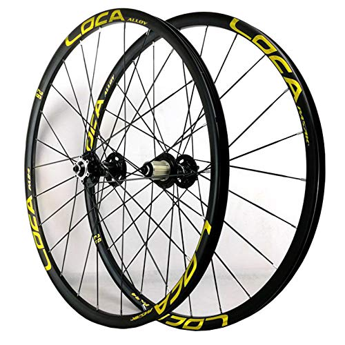 ZFF 26/27.5in Bicycle Wheelset Mountain Bike Wheels MTB Rim Disc Brake Ultralight Quick Release 8/9/10/11/12 Speed 24H (Color : Yellow, Size : 27.5in)