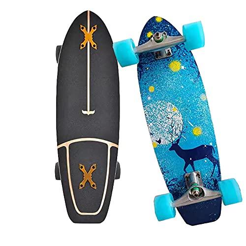 Skateboards para Principiantes Completa Cruiser Monopatin CX4 Truck Pumpping Surfskate 8 Capas de Madera de Arce Longboard con Rodamientos ABEC-11 y rodillos de PU para niños niñas adolescentes