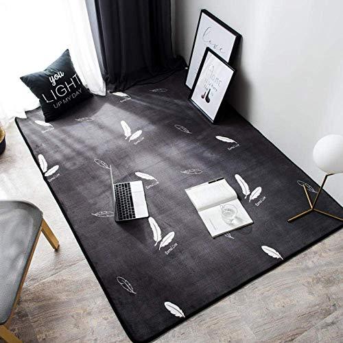 QFF tapijt wit veren patroon anti-slip mat woonkamer slaapkamer salontafel balkon deken tapijten kunst decoratie 145×190cm