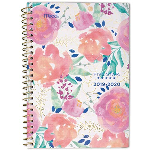 "Five Star 2019-2020 Academic Year Weekly & Monthly Planner, Small, 5-1/2"" x 8-1/2"", In Bloom, White Floral (1212A-200A)"