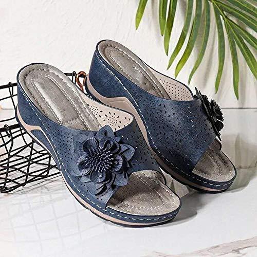 YYFF Sandalia Tipo Chancla con,Pendiente de Gran tamaño con Zapatillas, Flores y Ocio-Azul Marino_42,Zapatillas de Casa Antideslizante