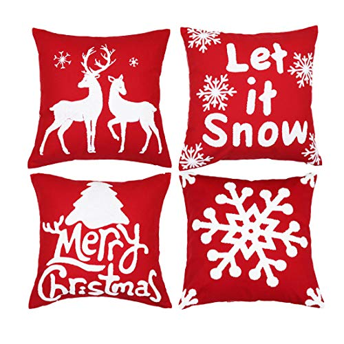 Red and White Christmas Pillows Set of 4