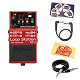 Boss RC-1 Loop Station Bundle with Instrument Cable, Patch Cable, Picks, and Austin Bazaar Polishing Cloth