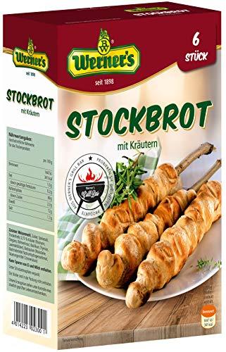Werner´s Stockbrot mit Kräutern für Lagerfeuer & Grill, Backmischung für 4 - 6 Stück, zum backen über Lagerfeuer oder Grill, 6 Packungen pro Karton,