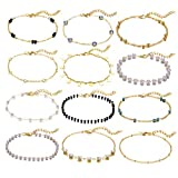 Softones 12Pcs Boho Silver Gold Small Beads Ankle Bracelets for Women Crystal Pearl Anklets Set for Girls Adjustable Chain Beach Foot Jewelry