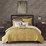 Ink+Ivy Kandula Full/Queen Size Quilt Bedding Set - Mustard Yellow , Quilted Floral, Elephants – 3 Piece Bedding Quilt Coverlets – 100% Cotton Percale Bed Quilts Quilted Coverlet