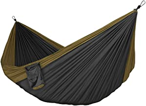 Hammocks Camping Hammock Double Single Portable Swing Bed Lightweight Parachute for Backyard Outdoor Beach (Color : Gray)