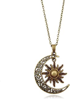 MIXIA Vintage Bronze Crescent Moon and Sun Pendant Necklace Retro Swirl Filigree Unisex Jewelry Gifts