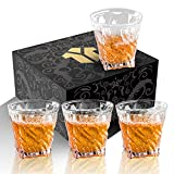 OPAYLY Crystal Whiskey Glasses Set of 4, Rocks Glasses, 10 oz Old Fashioned...
